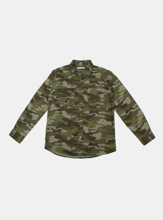 Camisa Melt Print Niño,Verde Olivo,hi-res