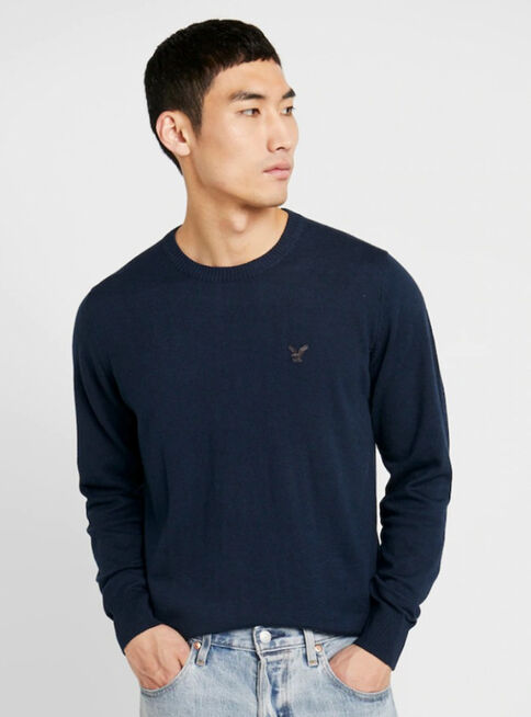 Sweater%20Liso%20Redondo%20American%20Eagle%2CAzul%20Oscuro%2Chi-res