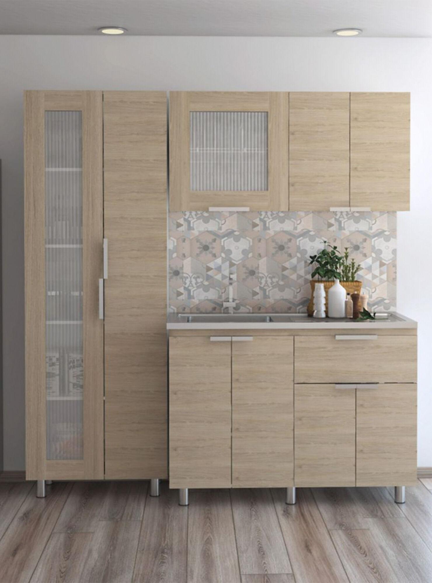 Combo Muebles Cocina Fendi Rovere Blanco Alacena + Muebles Interior y  Superior TuHome