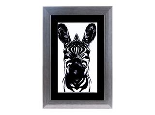 Cuadro de Arte Attimo Cebra Blanco y Negro 34.8 x 24.8 x 1.50 cm,,hi-res