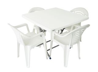 Juego de Comedor Terraza Mesa Plegable 4 Sillas Attimo,Blanco,hi-res