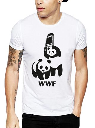 Polera WWF Pandas Get Out,Blanco,hi-res