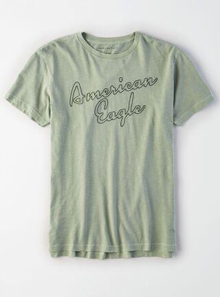 Polera Bordada American Eagle,Verde Militar,hi-res