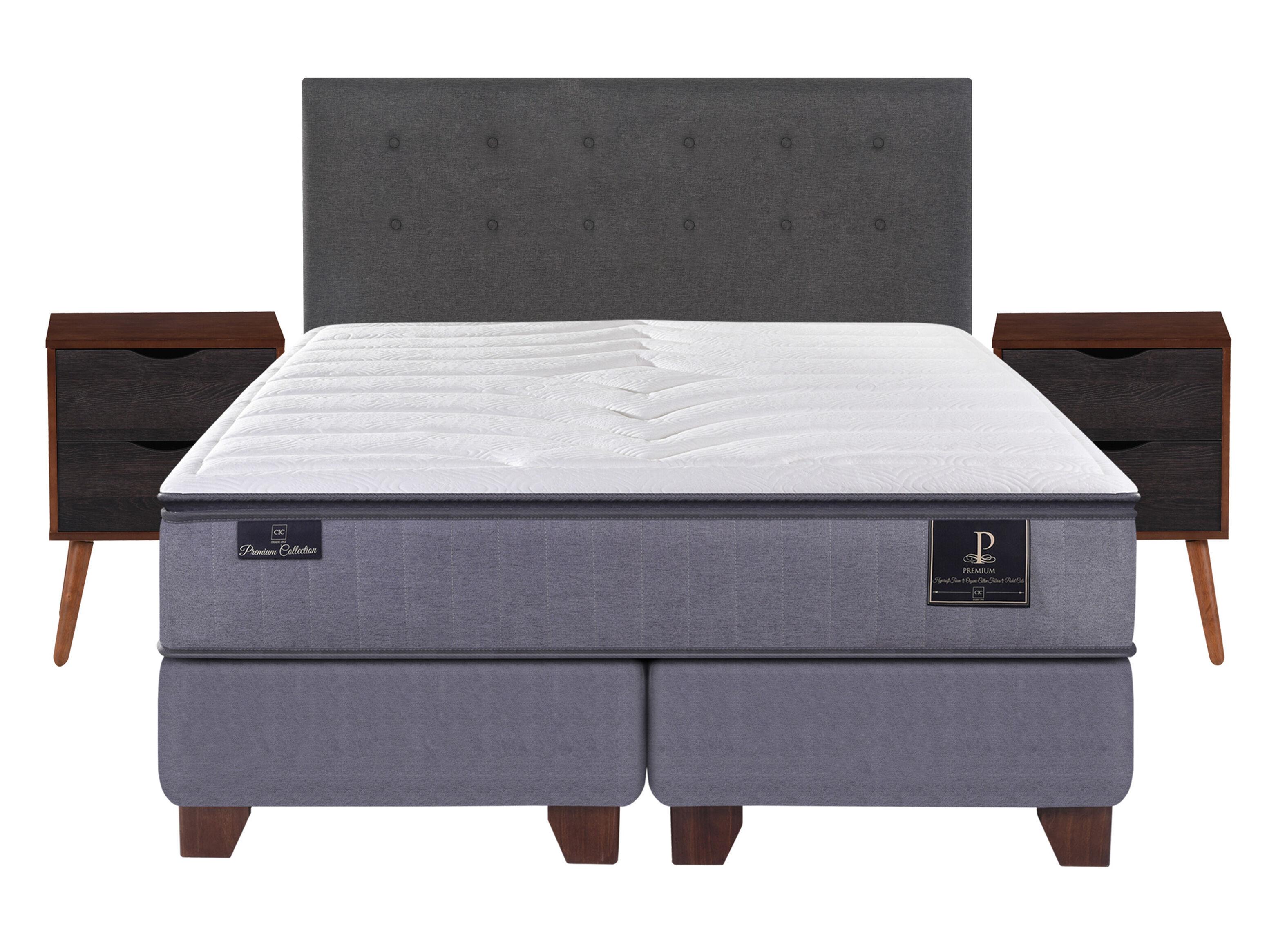 Box Spring Premium 2 Plazas Base Dividida + Set Muebles Eufrates Cic