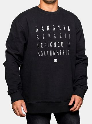 Polerón Logo Frontal Gangsta,Negro,hi-res