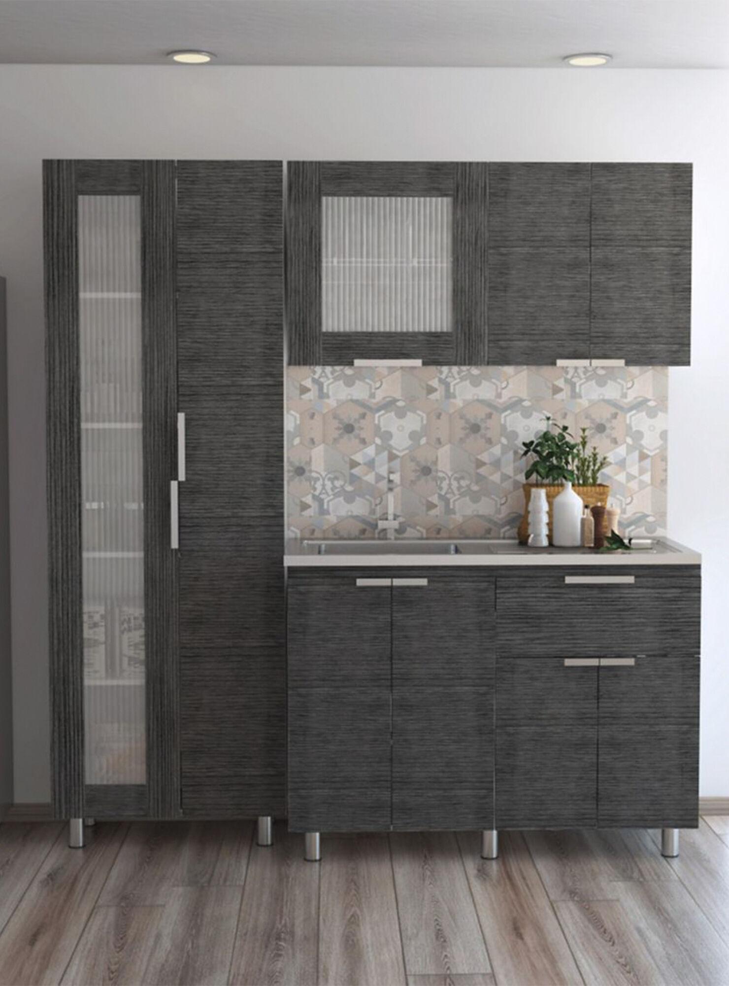 Combo Muebles Cocina Fendi Rovere Gris Alacena + Muebles Interior y  Superior TuHome