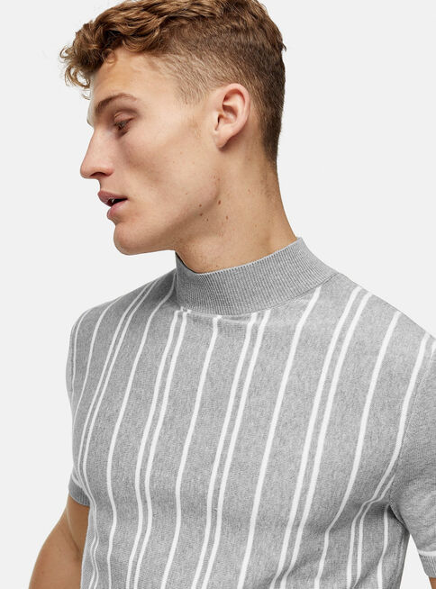 Polera%20Gris%20Stripe%20Turtle%20Neck%20Knitted%20Topman%2C%C3%9Anico%20Color%2Chi-res