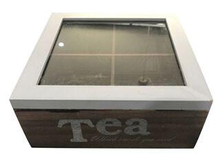 Caja Organizadora de Té Madera Beige 12x9cm Attimo,,hi-res