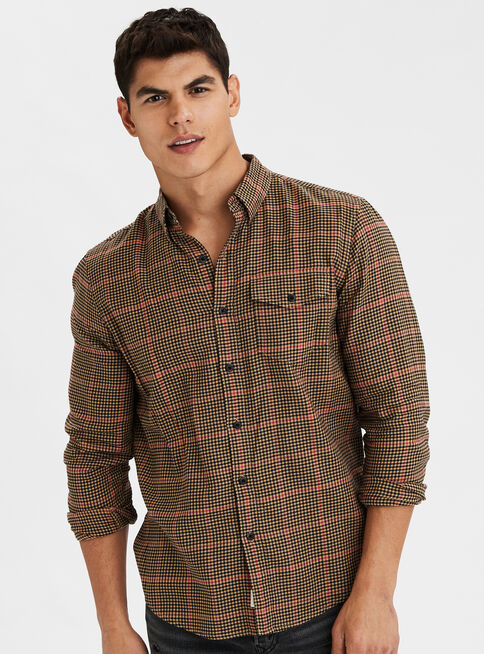 Camisa%20Twill%20Cuadros%20American%20Eagle%2CNogal%2Chi-res