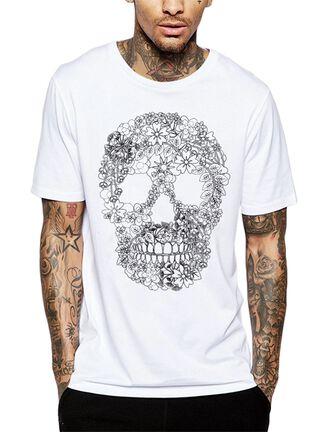 Polera Floral Skull Get Out,Blanco,hi-res
