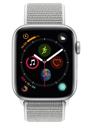 Apple Watch Series 4 (GPS), caja aluminio en plata 44 mmy correa Loop deportiva en color nácar,,hi-res