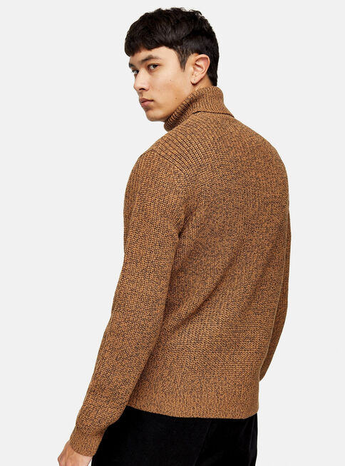 Sweater%20Brown%20Twist%20Block%20Roll%20Neck%20Topman%2C%C3%9Anico%20Color%2Chi-res