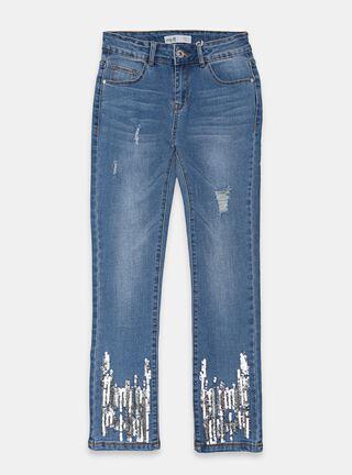 Jeans Melt Lentejuelas Niña,Azul Eléctrico,hi-res