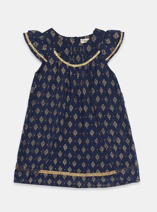 Vestido Tribu Aplicación Niña,Azul Oscuro,hi-res