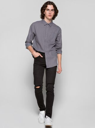 Jeans Liso con Rotura Foster,Negro,hi-res
