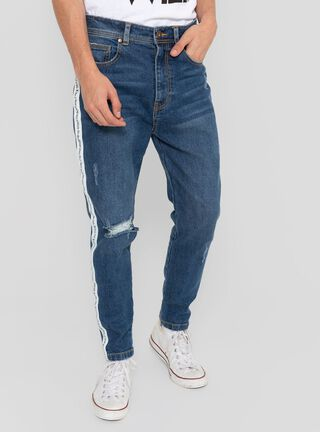 Jeans Skinny Rayas Lateral Opposite,Azul,hi-res
