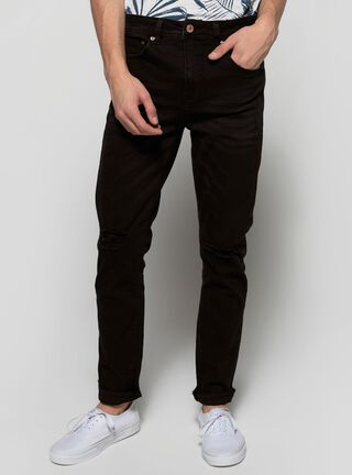 Jeans Roturas Liso Foster,Negro,hi-res