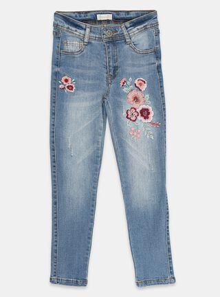 Jeans Tribu Bordado Floral Niña,Azul Petróleo,hi-res