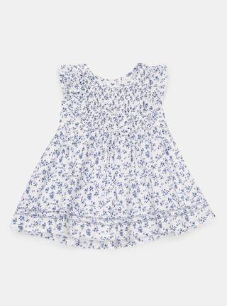 Vestido Opaline Floral Niña,Azul Oscuro,hi-res