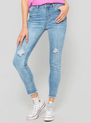 Jeans Tiro Alto Roturas Foster,Celeste,hi-res