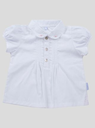 Blusa Lucky Baby Botón Niña,Blanco,hi-res