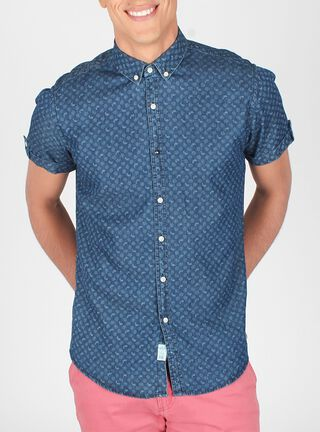 Camisa Manga Corta Cuello Americano Botón Arrow,Azul Marino,hi-res