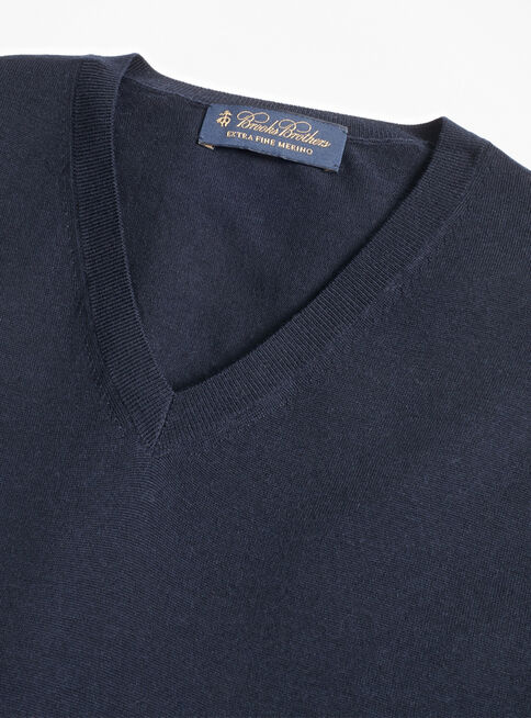 Sweater%20Azul%20Liso%20Cuello%20V%20Brooks%20Brothers%2CAzul%2Chi-res