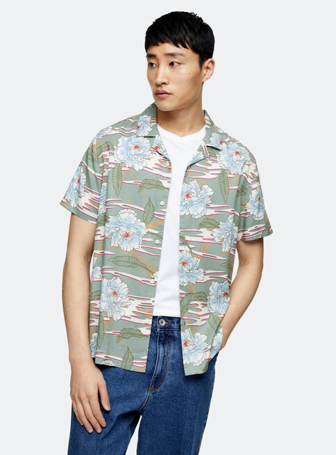 Camisa%20Jade%20Verde%20Hawaiian%20Revere%20Topman%2C%C3%9Anico%20Color%2Chi-res