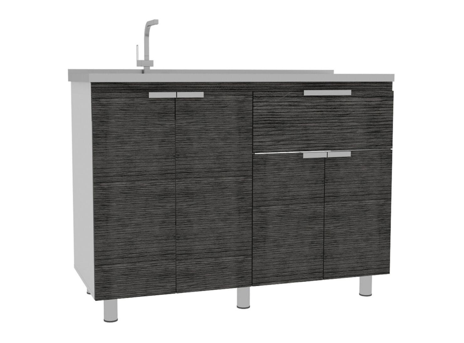 Muebles Cocina Fendi Alacena + Interior + Auxiliar + Superior + Mueble  Microondas Rovere Gris TuHome