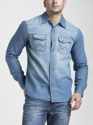 Camisa Denim Wrangler,Azul,hi-res