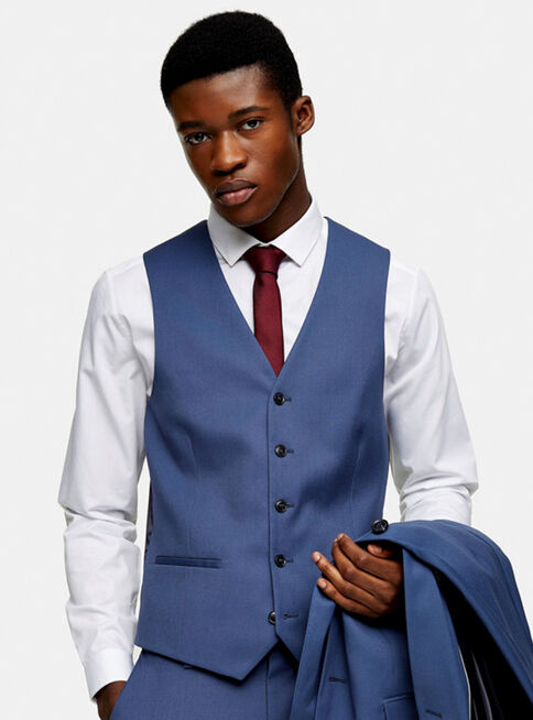 Chaqueta%20Gilet%20Azul%20Single%20Breasted%20Skinny%20Fit%20Topman%2C%C3%9Anico%20Color%2Chi-res