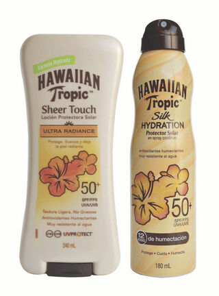 Pack Protector Solar Sheer Touch FPS 50+ 240 ml  + Spray Silk Hydration FPS 50 Hawaiian Tropic 180 ml,,hi-res