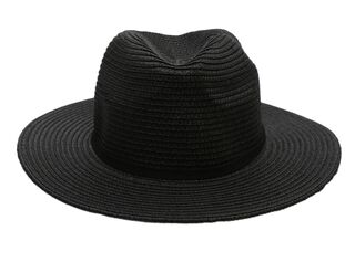 Sombrero Playa Alaniz Melange Natural Mujer,Negro,hi-res