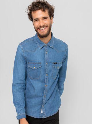 Camisa Slim West Lee,Azul,hi-res