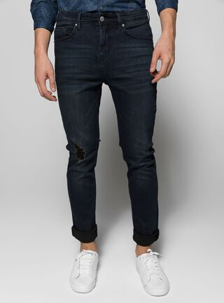 Jeans Liso Slim Fit Foster,Azul Oscuro,hi-res