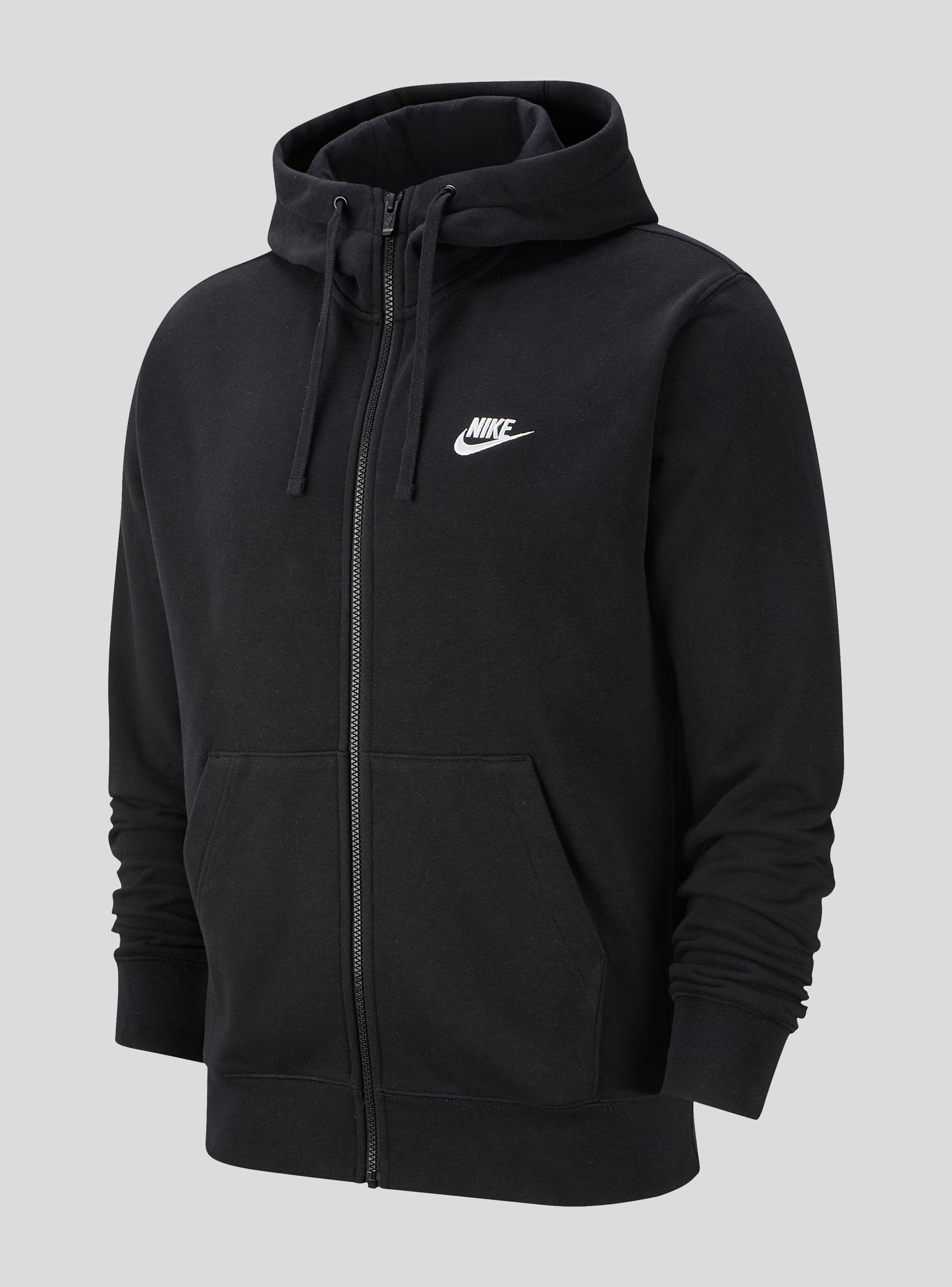 Polerón Nike NSW Club Hoodie FZ FT Negro Hombre