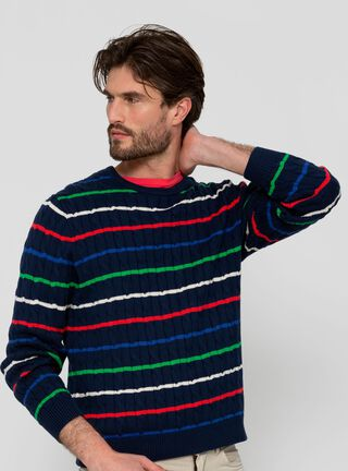 Sweater Crew Neck Franjas SavilleRow,Azul Marino,hi-res