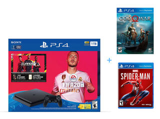 CONSOLA PS4 SLIM 1TB FIFA 20 + JUEGO PS4 SPIDERMAN + JUEGO PS4 GOD OF WAR