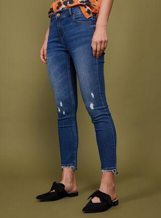 Jeans Terminación Flecos Tiro Medio Skinny  Alaniz,Azul Oscuro,hi-res
