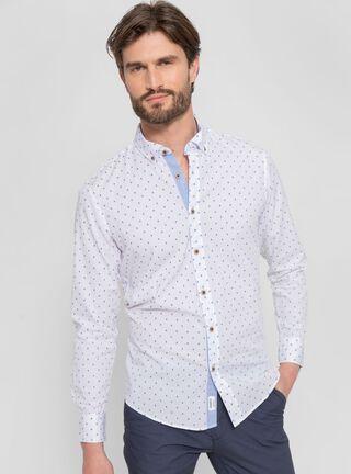 Camisa Puntos Cuello Abotonado Greenfield,Blanco,hi-res