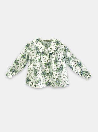 Blusa María Pompón Estampado Floral Niña,Verde,hi-res