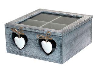 Caja Organizadora de Té Madera Gris 18x18cm,,hi-res