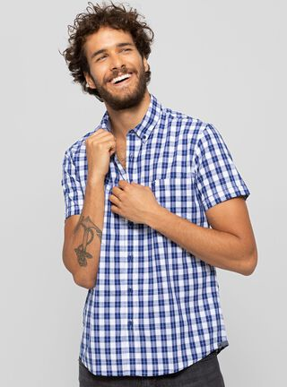 Camisa Checkered Ferouch,Celeste,hi-res