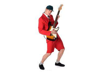 Disfraz Rockero Shorts Rojo Hombre Carnaval,Único Color,hi-res