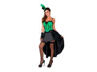 Disfraz Can Can Verde Mujer Carnaval,Único Color,hi-res