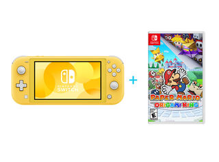 NINTENDO SWITCH LITE YELLOW + PAPER MARIO: THE ORIGAMI KING