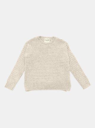 Sweater Melt Chenille Niña,Marfil,hi-res