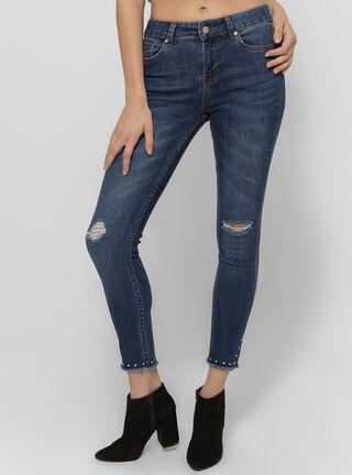 Jeans Tiro Medio Crop Tachas Basta Foster,Azul Oscuro,hi-res