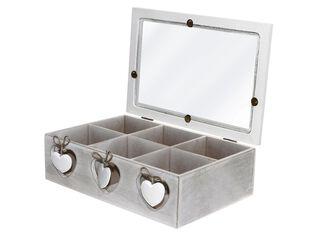 Caja Organizadora de Té Madera Blanco 26x17cm Attimo,,hi-res