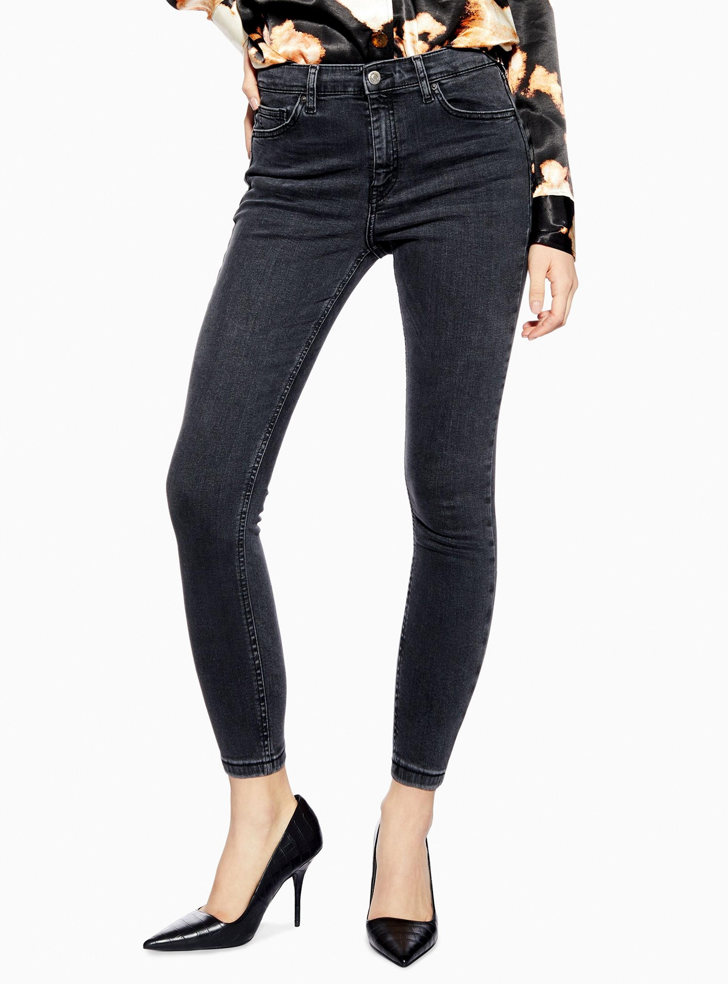 Jeans Jamie Washed Black Largo 30 Topshop